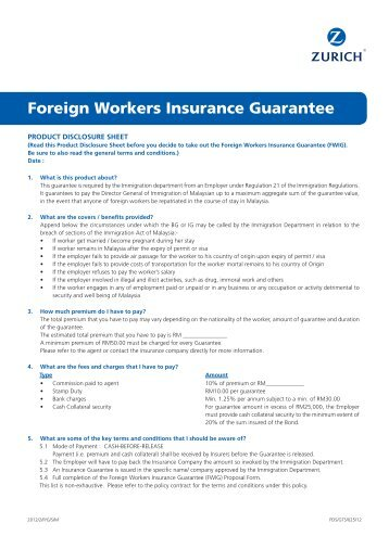 Foreign Workers Insurance Guarantee - Zurich