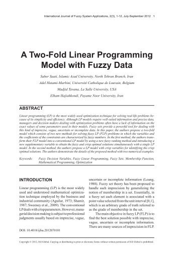 A Two-Fold Linear Programming Model with Fuzzy Data - Dr. Madjid ...