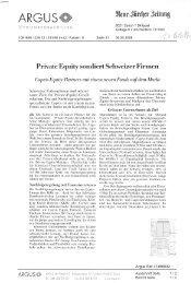 Private Equity sondiert Schweizer Firmen - Tyrol Equity