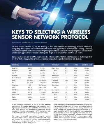 Keys to Selecting a Wireless Sensor Network Protocol - Avnet