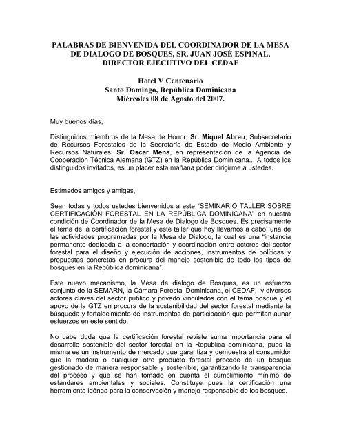 PALABRAS DE BIENVENIDA DEL COORDINADOR DE LA ... - CEDAF