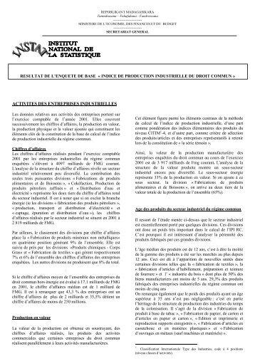 154 ko - Institut national de la statistique malgache (INSTAT)
