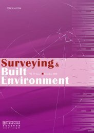 Surveying & Built Environment Vol. 19 Issue 1 - Hong Kong Institute ...