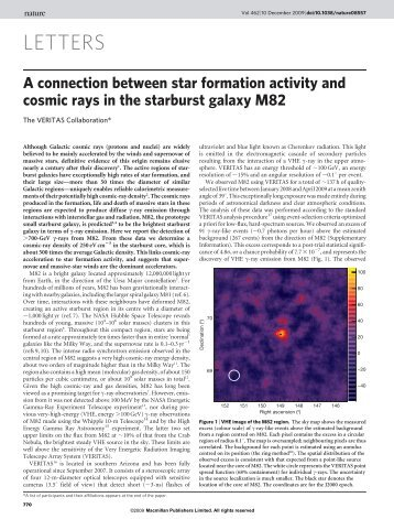 A connection between star formation activity and cosmic rays in the ...
