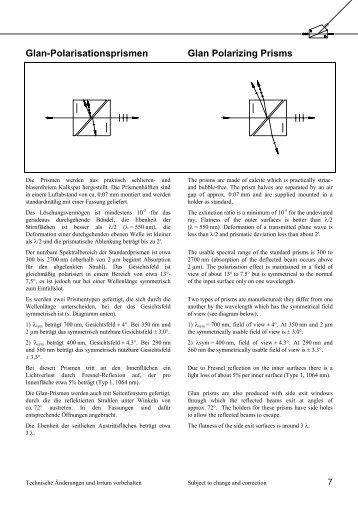 Glan-Polarisationsprismen Glan Polarizing Prisms - Bernhard Halle