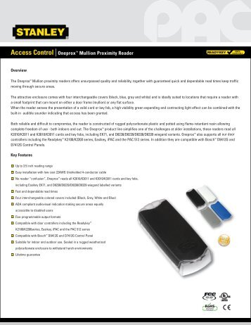 access control oneproxtm mullion proximity reader stanley pac?quality=85 promi 500 proximity access control system installation cdvi pac reader wiring diagram at crackthecode.co