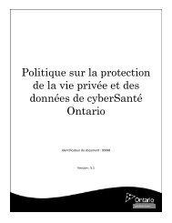 Protection de la vie privée et des données - eHealth Ontario