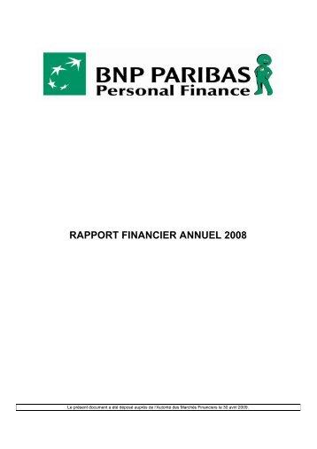 rapport financier annuel 2008 - BNP Paribas Personal Finance