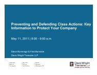 Preventing and Defending Class Actions - Davis Wright Tremaine