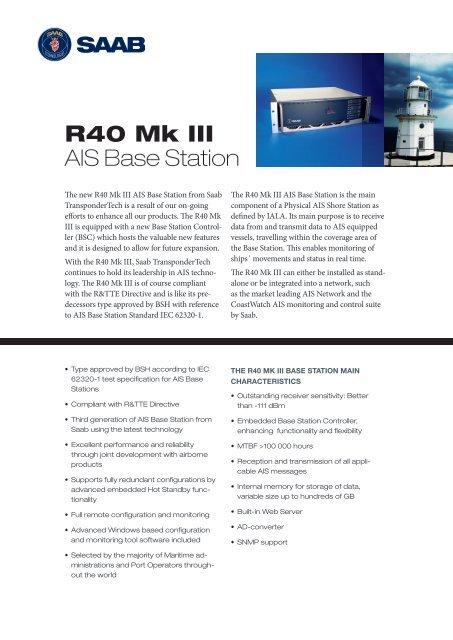 R40 Mk III AIS Base Station - Saab
