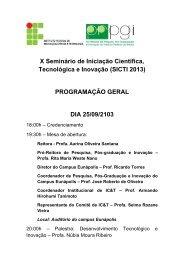 Programação Geral do X SICTI 2013 - IFBA - Campus Eunápolis