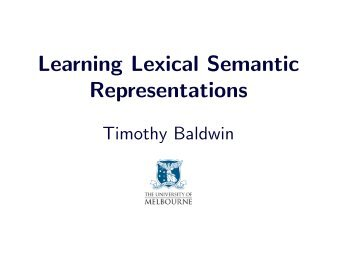 Learning Lexical Semantic Representations