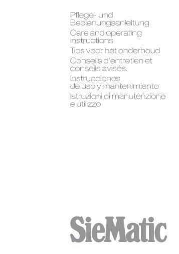Istruzioni di manutenzione e utilizzo, 382 KB - SieMatic
