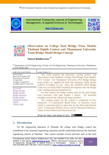 Observation on College Steel Bridge Truss Models Thailand Eighth ...