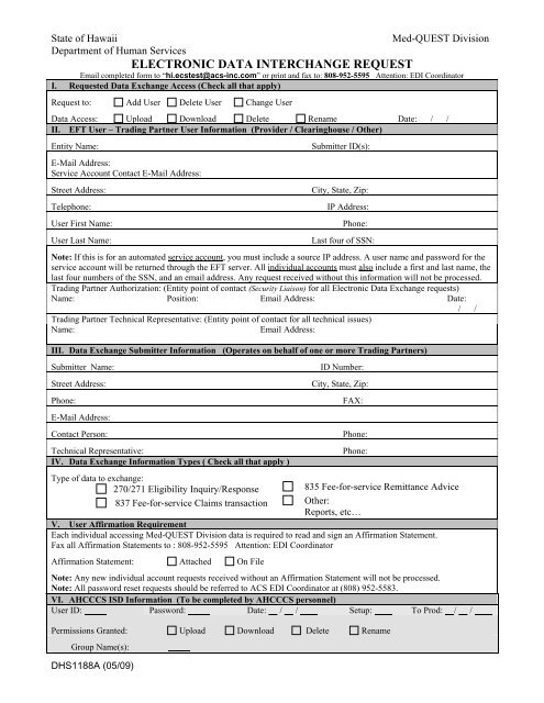 DHS 1188A Electronic Data Interchange Request Form