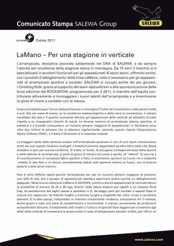 LaMano – Per una stagione in verticale Comunicato ... - Salewa