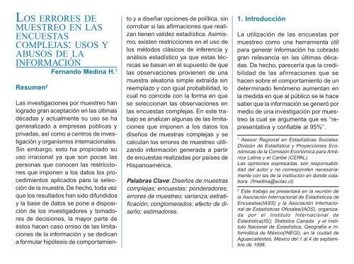 """""""Los errores de muestreo en las encuestas complejas: usos y ..."""