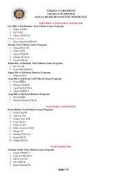 Kesin Kayıt Hakkı Kazananların Listesi-3 - Sosyal Bilimler Enstitüsü