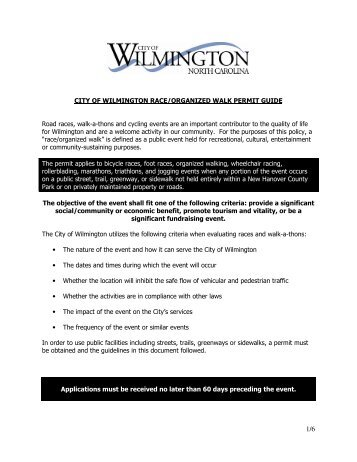 CITY OF WILMINGTON RACE/ORGANIZED WALK PERMIT GUIDE ...