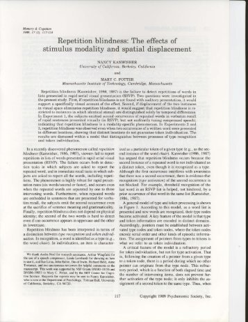 Repetition blindness: The effects of stimulus modality and ... - MIT