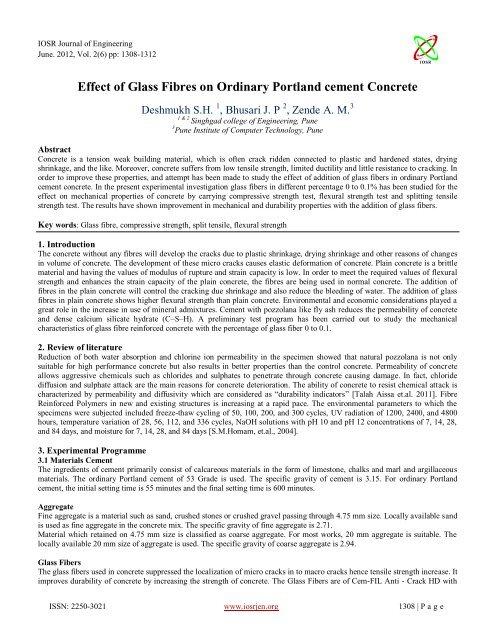 Effect of Glass Fibres on Ordinary Portland cement     - IOSRJEN