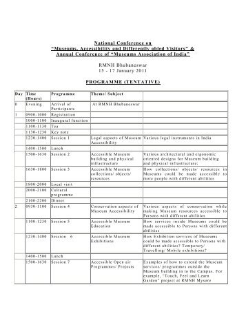 Tentative Programme - National Museum of Natural History