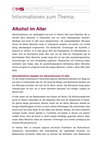 Alkohol im Alter - Aktionswoche Alkohol