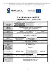 Plan działania na rok 2012 - Polska Agencja Rozwoju ...