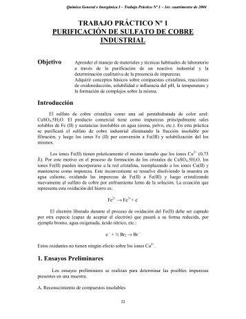 trabajo práctico nº 1 purificación de sulfato de cobre industrial