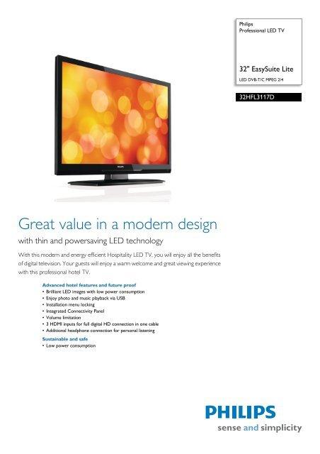 32HFL3117D/10 Philips Professional LED TV - Yardley Hospitality