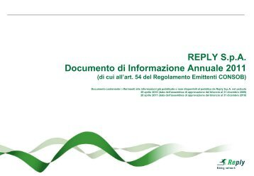 Documento di Informazione Annuale 2011 - Reply
