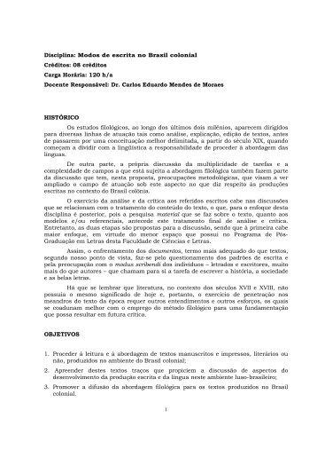 Modos de Escrita no Brasil Colonial - CARLOS ... - UNESP-Assis