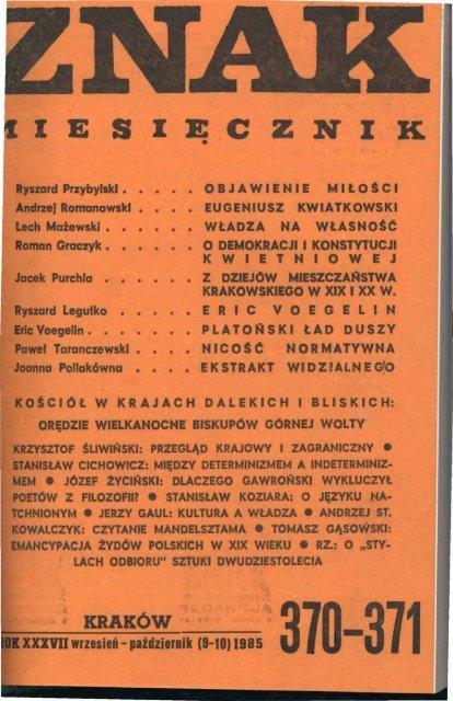 Nr 370 371 Wrzesieå Paåºdziernik 1985 Znak