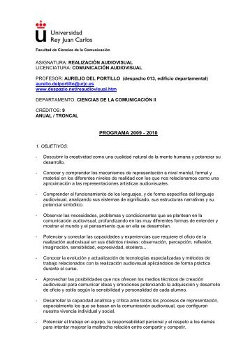 Realización Audiovisual (Aurelio del Portillo) - FCJS