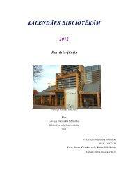 KALENDĀRS BIBLIOTĒKĀM 2012 Janvāris–jūnijs - Academia