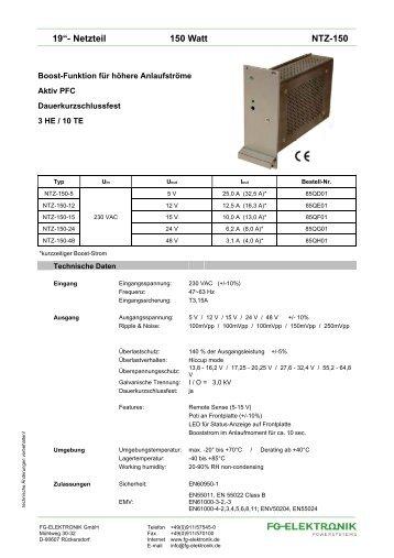 """19""""- Netzteil 150 Watt NTZ-150 - FG-Elektronik GmbH"""