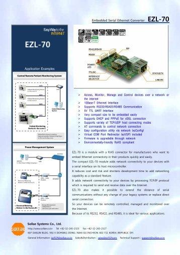 Embedded Serial Ethernet Converter EZL-70 Sollae Systems Co., Ltd.