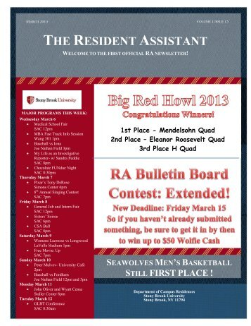 THE RESIDENT ASSISTANT - Student Affairs - Stony Brook University