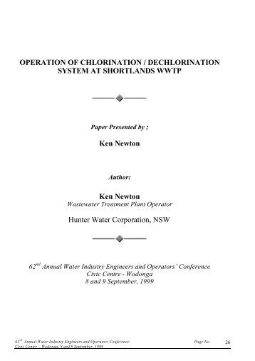 OPERATION OF CHLORINATION / DECHLORINATION ... - WIOA