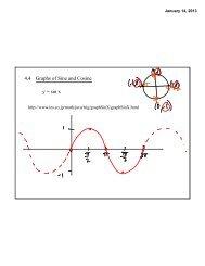 4.4 Graphs of Sine and Cosine y = sin x