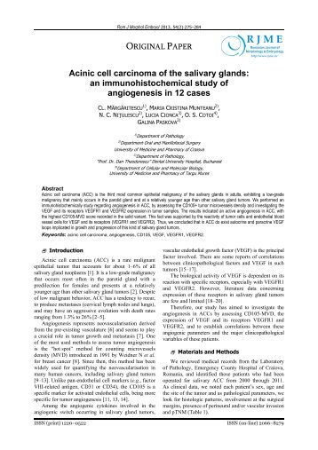 Acinic cell carcinoma of the salivary glands - Rjme.ro