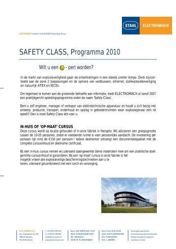 SAFETY CLASS, Programma 2010 - Electromach BV