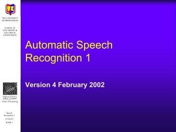 Speech Recognition I - University of Birmingham