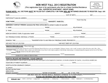 Registration Form for people livng in STATE ... - Nor-west.org