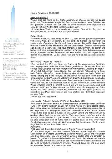 Hour of Power vom 27.02.2011 Begrüßung (RHS): Warum sind Sie ...