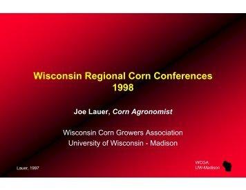 1998 - Wisconsin Corn Agronomy - University of Wisconsin-Madison