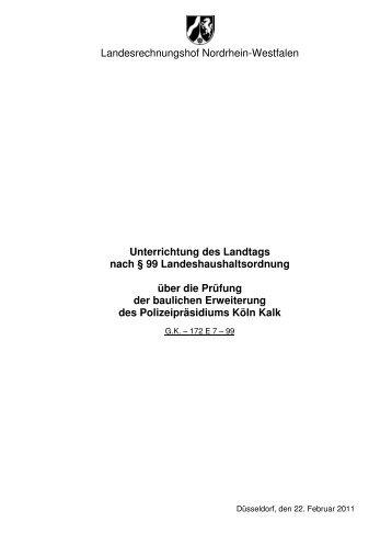Prüfung der baulichen Erweiterung des Polizeipräsidiums Köln Kalk
