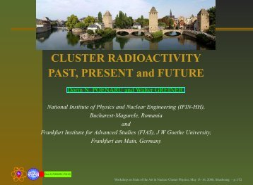 Cluster Radioactivities, State of the Art in Nuclear Cluster Physics ...