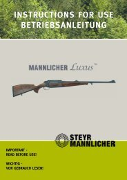 INSTRUCTIONS FOR USE BETRIEBSANLEITUNG - Steyr Mannlicher