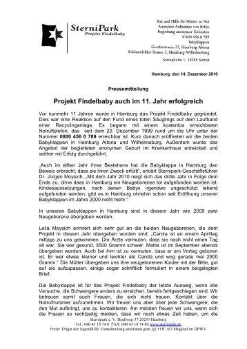 Projekt Findelbaby auch im 11. Jahr erfolgreich
